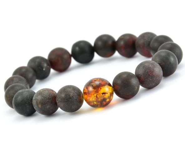 Mens amber beaded bracelet